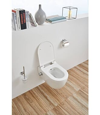 Sani Royal Hangend Toilet Slim met bidet Rimfree 55 cm Easy Flush met Softclose Zitting