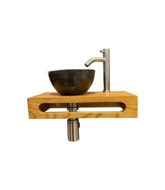Natuurstenen Waskom Rond met Massief Wood Planchet met Opbouwkraan, Afvoer en Sifon RVS 40x22x8 cm