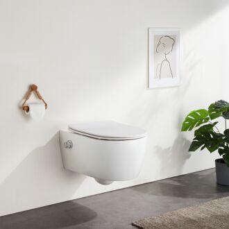 Sani Royal Hangend Toilet Slim met bidet Rimfree 55 cm Easy Flush met Softclose Zitting