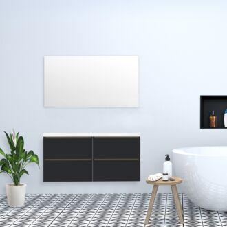 Badkamermeubel Trento Greeploos met Flat Kunstmarmer Top 120 cm Hoogglans Antraciet met 4 Lades