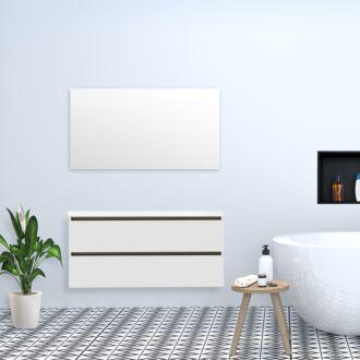 Badkamermeubel Trento Greeploos met Flat Kunstmarmer Top 120 cm Hoogglans Wit
