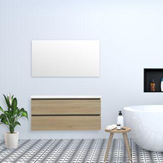 Badkamermeubel Trento Greeploos met Flat Kunstmarmer Top 120 cm Light Wood