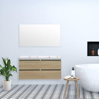 Badkamermeubel Trento Greeploos met Flat Kunstmarmer Top 120 cm Light Wood met 4 Lades