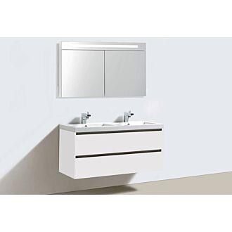 Badkamermeubel Trento Greeploos Mineraal 120 cm Hoogglans Wit met Spiegelkast