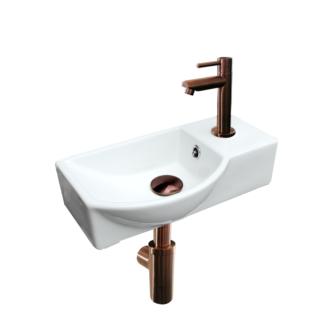Keramische fonteinset Bari met kraan, afvoer en sifon Brons 40x22x12,5 cm