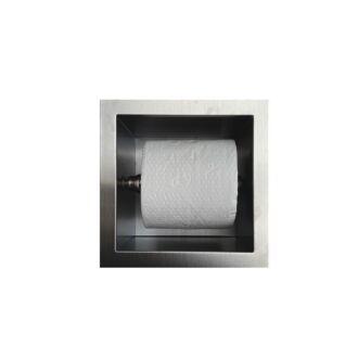 Inbouw WC Rolhouder RVS voor 1 Rol 12 cm diep