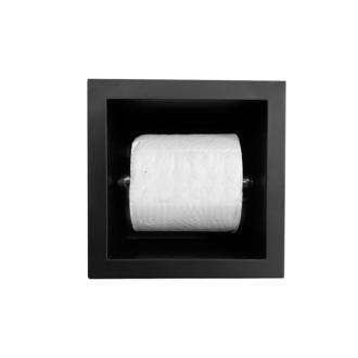 Inbouw WC Rolhouder RVS voor 1 Rol Mat Zwart 12 cm diep