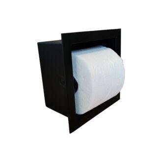 Inbouw WC Rolhouder RVS voor 1 Rol Mat Zwart 9 cm diep