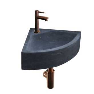 Natuursteen Fonteinset Como met Kraan, Afvoer en Sifon Brons 30x30x10 cm