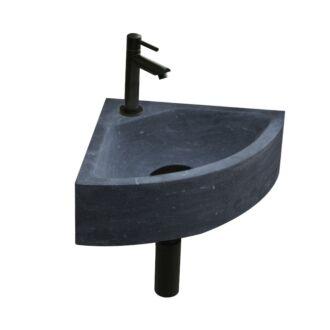 Natuursteen Fonteinset Como met Kraan, Afvoer en Sifon Mat Zwart 30x30x10 cm