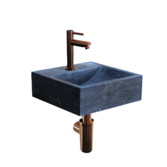 Natuursteen Fonteinset Sovana met Kraan, Afvoer en Sifon Brons 30x30x10 cm