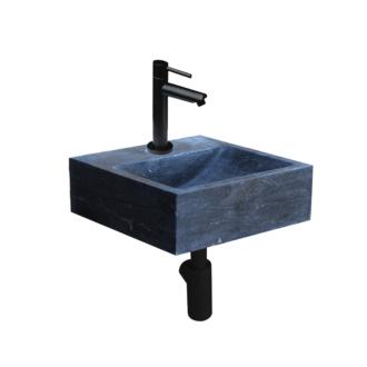 Natuursteen Fonteinset Sovana met Kraan, Afvoer en Sifon Mat Zwart 30x30x10 cm