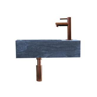 Natuursteen Fonteinset Rimini met Kraan, Afvoer en Sifon Brons 40x22x10 cm