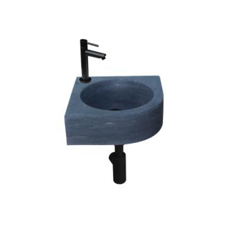 Natuursteen Fonteinset Rione met Kraan, Afvoer en Sifon Mat Zwart 30x30x10 cm