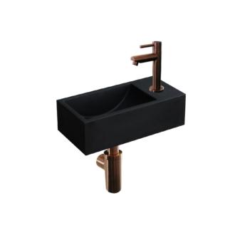 Quartz Zwart Fonteinset Mini met Kraan, Afvoer en Sifon Brons 36x18x10 cm