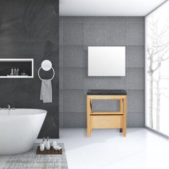 Badkamermeubel Rubio Wood Eiken Natuursteen 80 cm