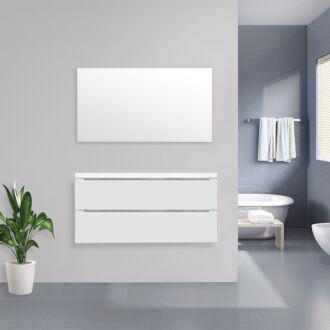 Badkamermeubel Sensio Flat Kunstmarmer Top 120 cm Hoogglans Wit
