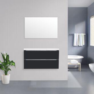 Badkamermeubel Sensio Flat Kunstmarmer Top 100 cm Hoogglans Antraciet