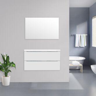 Badkamermeubel Sensio Flat Kunstmarmer Top 100 cm Hoogglans Wit