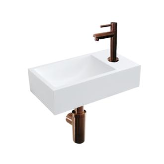 Solid Surface Fonteinset Recto met Kraan, Afvoer en Sifon Brons 40x22x10 cm