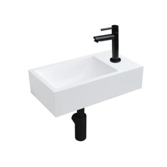 Solid Surface Fonteinset Recto met Kraan, Afvoer en Sifon Mat Zwart 40x22x10 cm