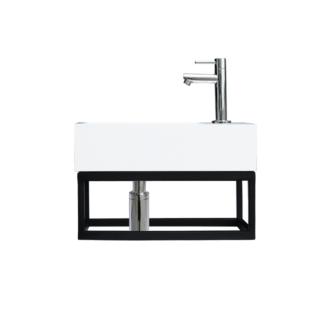 Fontein Frame Mat Zwart Solid Surface Chroom 40x22x10 cm