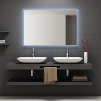 Badkamerspiegel rondom LED Verlichting Arezzo 100 cm met Touch en Dimbaar in 3 Standen met Spiegelverwarming