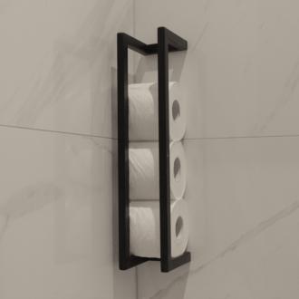 Toiletrol Houder Mat Zwart Frame Beugel