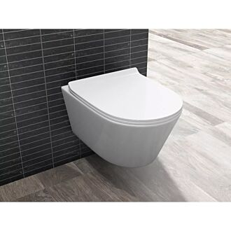 Sani Royal Hangend Toilet Easy Flush Slim Rimfree 55 cm Easy Flush met Platte Softclose Zitting