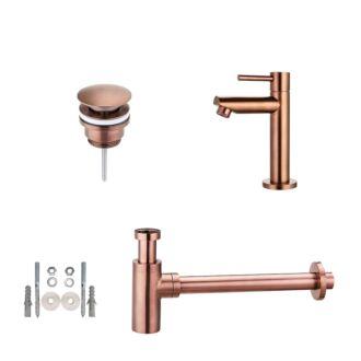 Toiletkraan set met afvoer en design sifon geborsteld brons