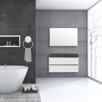 Badkamermeubel Trento Greeploos Natuursteen 100 cm Hoogglans Wit