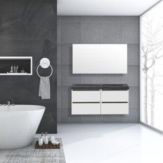 Badkamermeubel Trento Greeploos Natuursteen 120 cm Hoogglans Wit met 4 Lades