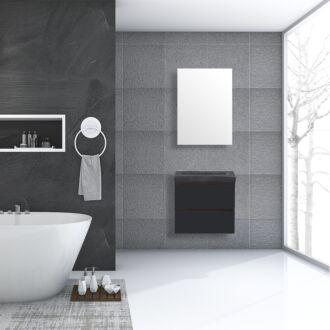 Badkamermeubel Trento Greeploos Natuursteen 60 cm Hoogglans Antraciet