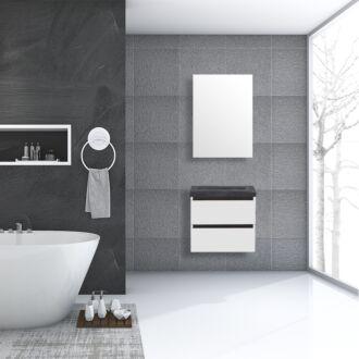 Badkamermeubel Trento Greeploos Natuursteen 60 cm Hoogglans Wit