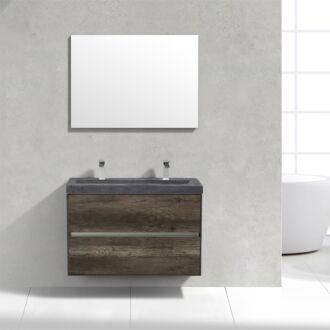 Badkamermeubel Trento Slim Greeploos 100 cm Century Oak met Natuurstenen Wasbak