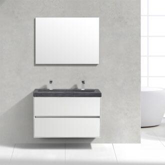 Badkamermeubel Trento Slim Greeploos 100 cm Hoogglans Wit met Natuurstenen Wasbak