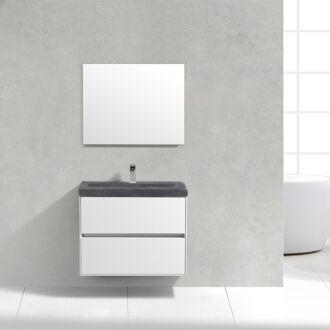 Badkamermeubel Trento Slim Greeploos 80 cm Hoogglans Wit met Natuurstenen Wasbak