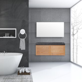 Badkamermeubel Verona Wood Eiken Natuursteen 120 cm
