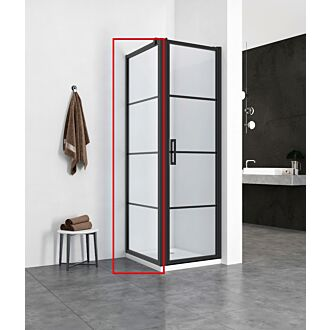 Zijwand 80x200 cm TBV Douchedeur Mat Zwart Frame Black Onyx Diverse Maten